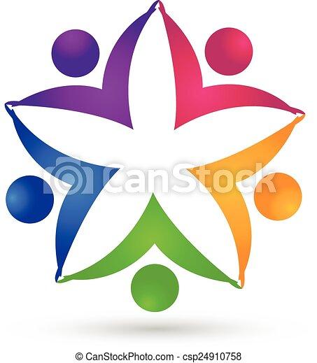 ロゴ, 統一, 花, チームワーク, 人々 - csp24910758