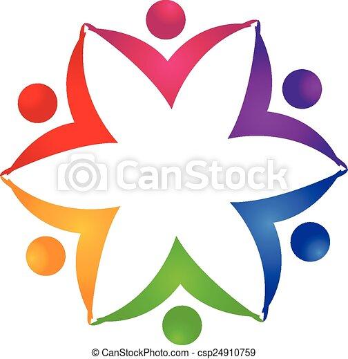 ロゴ, 統一, 花, チームワーク, 人々 - csp24910759