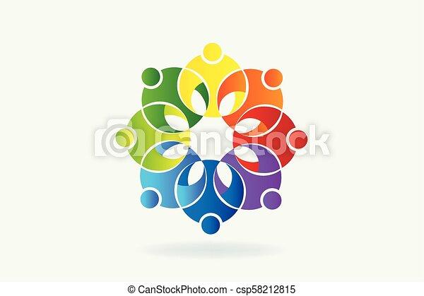 ロゴ, 花, チームワーク - csp58212815