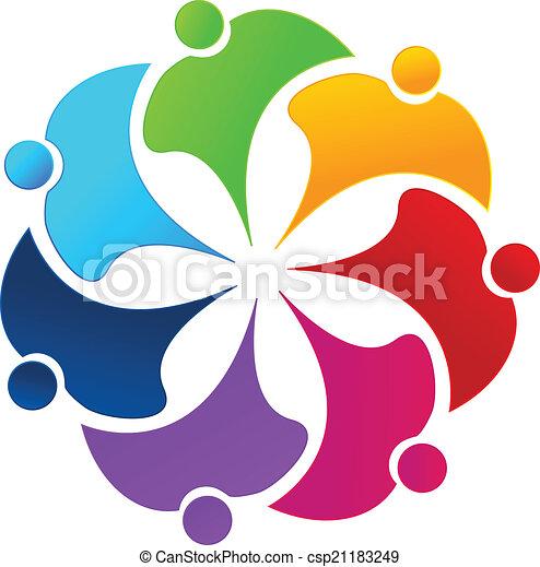 ロゴ, 花, チームワーク, 人々, 虹 - csp21183249