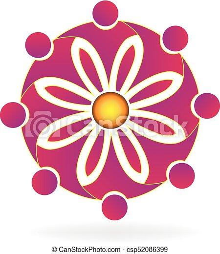 ロゴ, 花, チームワーク - csp52086399
