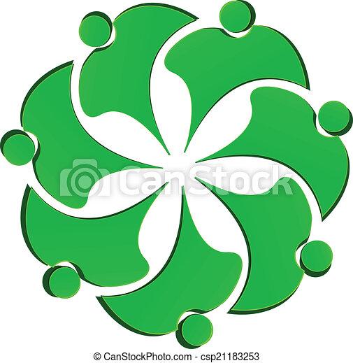 ロゴ, 花, 緑, 人々, チームワーク - csp21183253