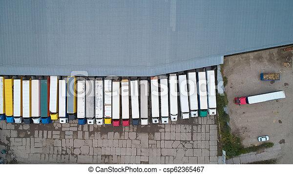 ロジスティクス, 都市, 商品, 航空写真, 中心, 地域, above., 産業, warehouse., 光景 - csp62365467