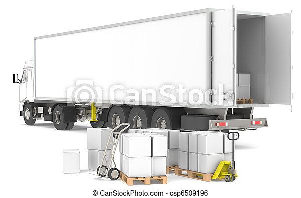 ロジスティクス, distribution., series., trucks., 青, 黄色, 箱, 部分, パレット, 倉庫, 開いた, トレーラー - csp6509196
