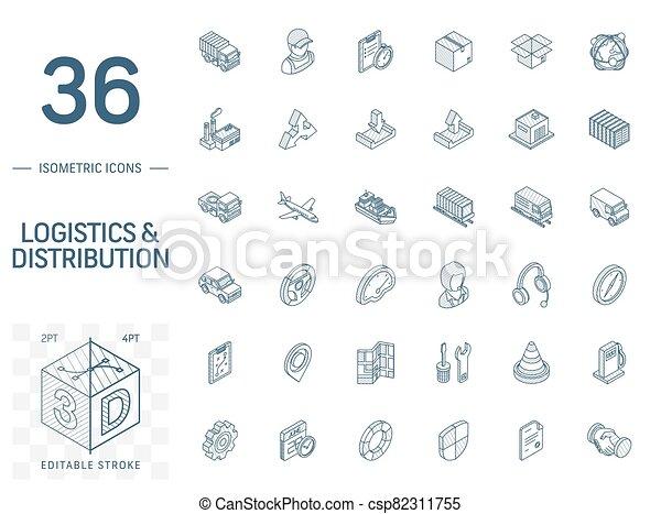 ロジスティックである, 線, 3d, 分配, 等大, icons., ベクトル - csp82311755