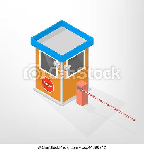 ロッジ, illustration., 障壁, 等大, ベクトル, セキュリティー, 自動 - csp44390712