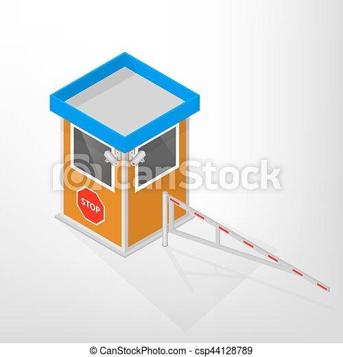 ロッジ, illustration., 障壁, 等大, ベクトル, 機械, セキュリティー - csp44128789