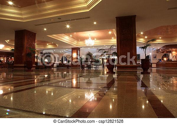 ロビー, ホテル, 現代, 大理石の床 - csp12821528