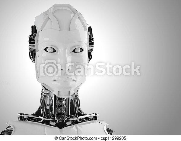 ロボット, 女性, アンドロイド, 隔離された - csp11299205