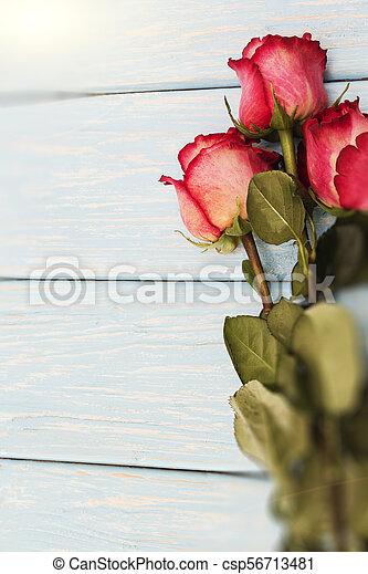 ロマンチック, ばら, 木, 背景, テーブル。, 赤 - csp56713481