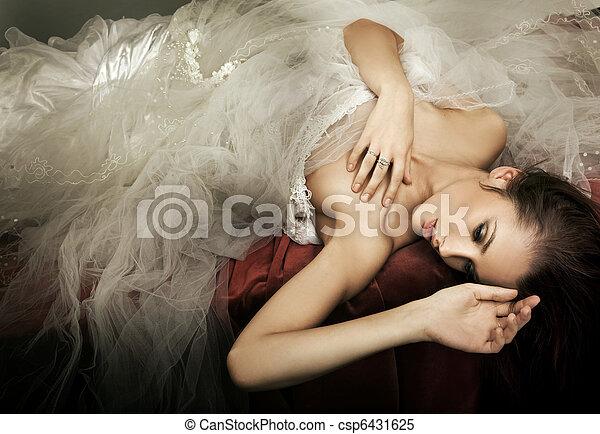 ロマンチック, 若い, スタイル, 女性, 写真 - csp6431625