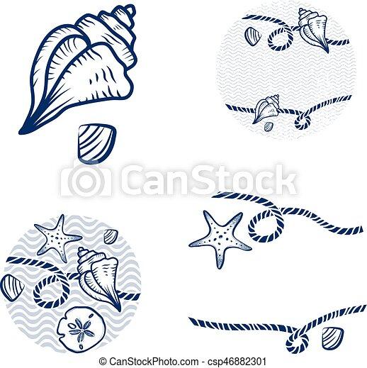 ロープ, 殻, デザインを設定しなさい, 海 - csp46882301