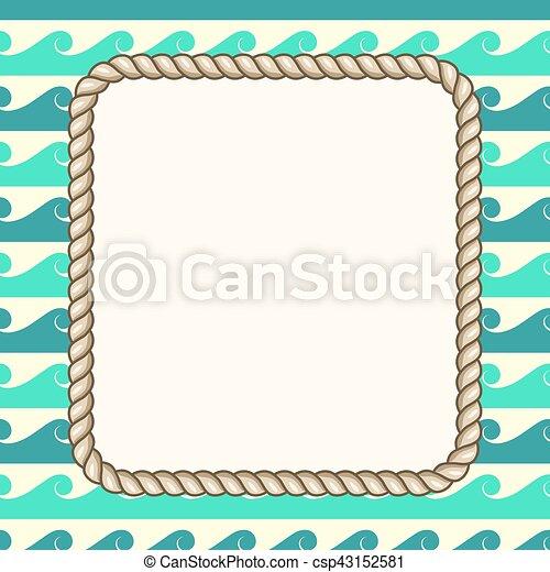 ロープ, 海事, ベクトル, 背景, 波, フレーム - csp43152581