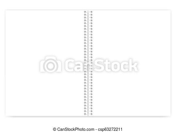 ワイヤー, ライト, 金属, はねるように駆けなさい, バネとじノート, 手紙, ブランク, 白, 開いた, 大きさ - csp63272211