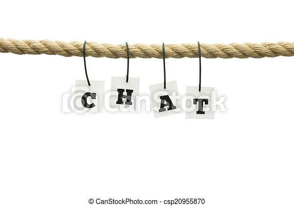 ワイヤー, 手紙, アルファベット, -, c-h-a-t, 掛かること - csp20955870