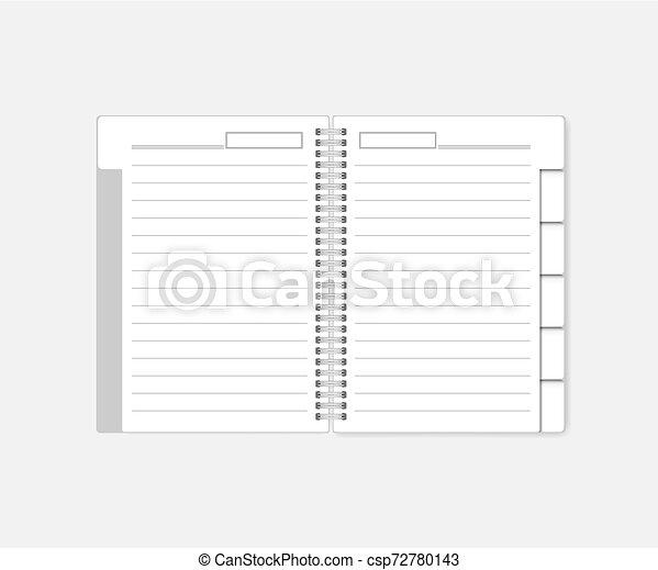 ワイヤー, mockup, 仕切り, -, らせん状の跳躍, ノート, タブ, 日記, 内側を覆われた, 開いた - csp72780143