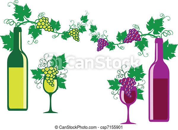 ワイン, 白, ベクトル, 赤 - csp7155901