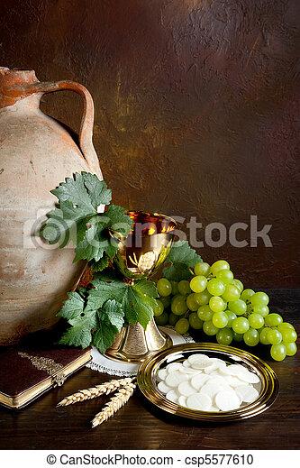 ワイン, 神聖, bread - csp5577610