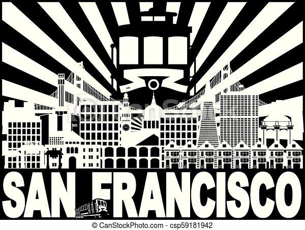 ワゴン, francisco, san, 太陽, イラスト, スカイライン, 光線 - csp59181942