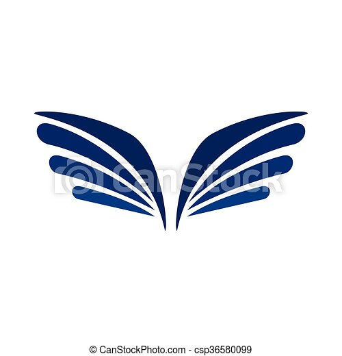 ワシ, スタイル, 単純である, アイコン, 対, 翼 - csp36580099