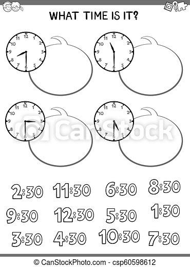ワークブック, 顔, 教育, 子供, 時計 - csp60598612