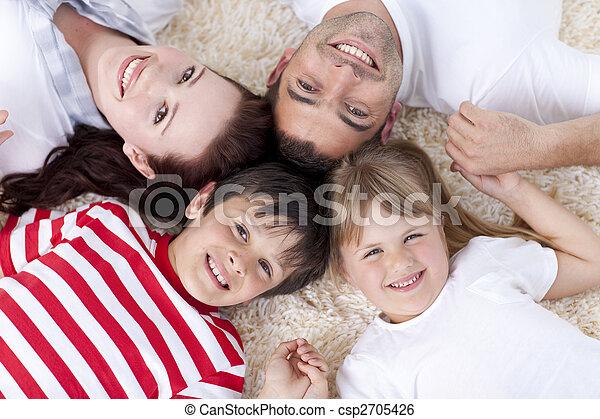 一緒の 頭部, 家族, 床 - csp2705426