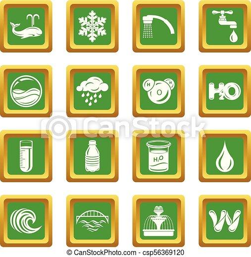 三角定規, アイコン, 水, ベクトル, 緑 - csp56369120