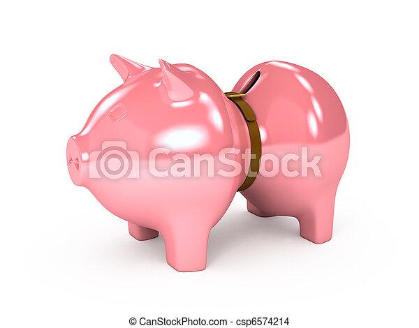 上に, バックグラウンド。, 3, 小豚, 白, 銀行 - csp6574214
