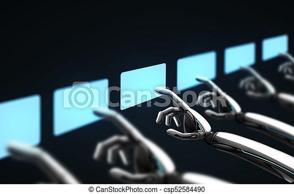 上に, ロボット, 事実上, スクリーン, 感動的である, 黒, 手 - csp52584490