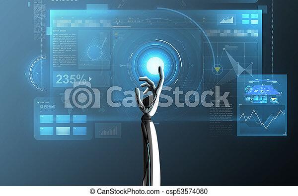 上に, ロボット, 事実上, 手がスクリーンに触れる, 青 - csp53574080