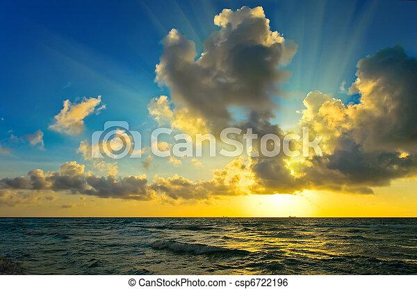 上に, 大西洋, 日の出, 海洋 - csp6722196