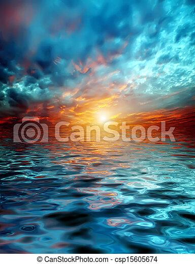 上に, 日没, 湖 - csp15605674