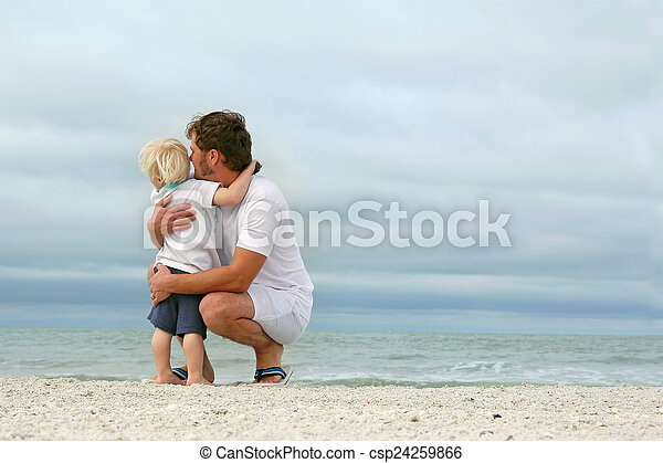 上に, 父, 若い, 海洋, 見る, 息子, から - csp24259866