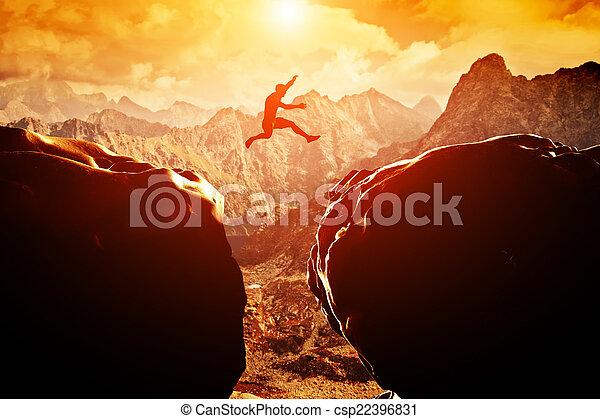 上に, 跳躍, 人, 絶壁 - csp22396831