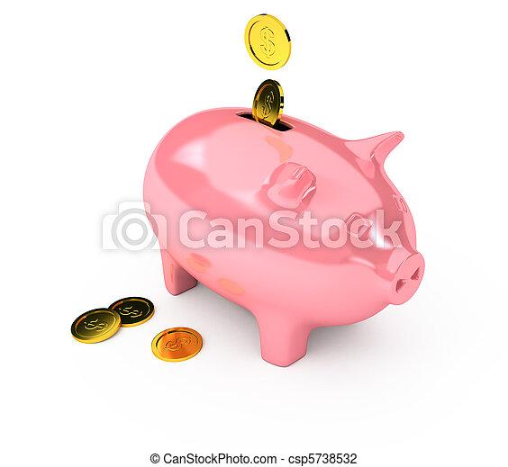 上に, 銀行, 白い背景, 小豚 - csp5738532