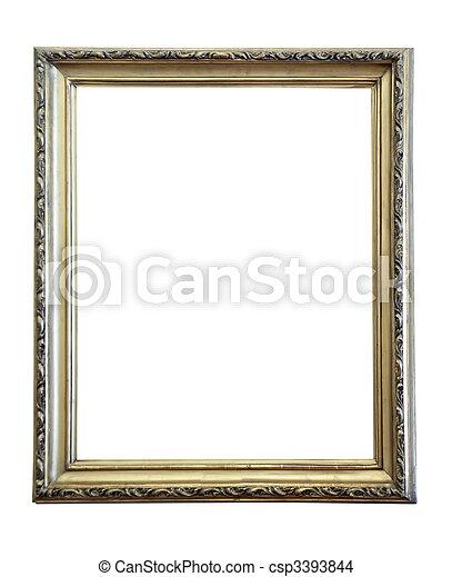上に, 骨董品, 金, 古い, 背景, フレーム, 白 - csp3393844