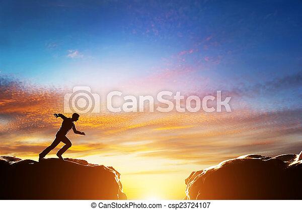 上に, 2, 速い, 絶壁, ジャンプ, 動くこと, ∥間に∥, 山。, 挑戦, 人 - csp23724107