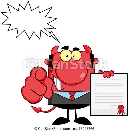 上司, の上, 悪魔, 手掛かり, 契約 - csp13223766
