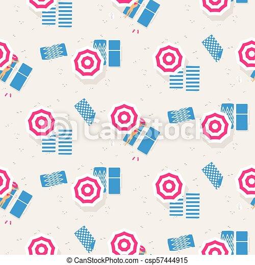 上, pattern., seamless, ベクトル, 浜, 光景 - csp57444915