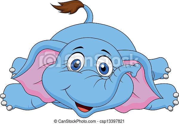 下方に, かわいい, 漫画, あること, 象 - csp13397821