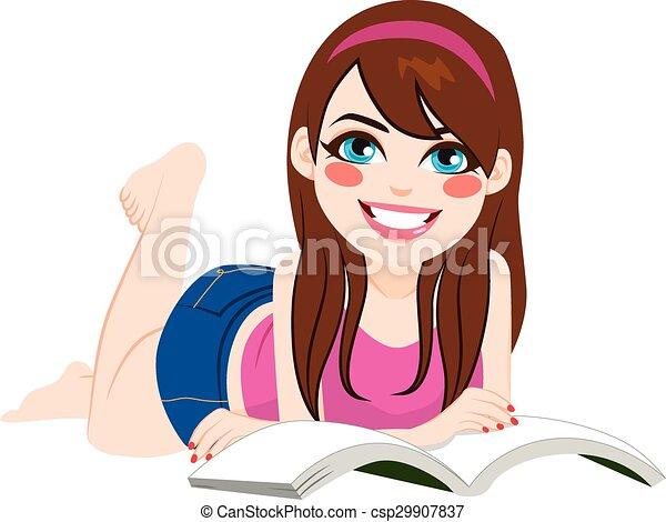 下方に, 女の子の読書, 本, あること - csp29907837