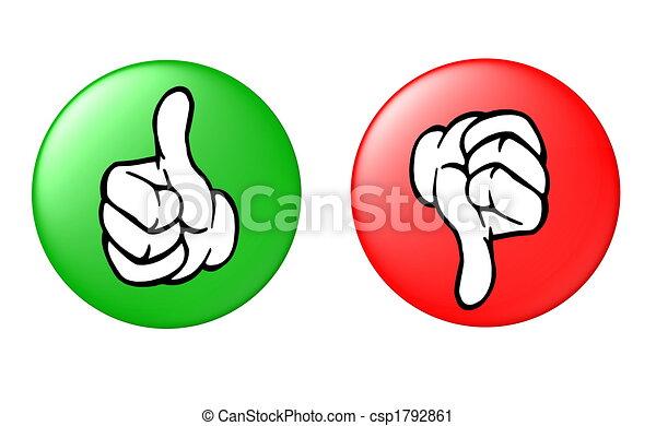 下来, 按钮, 上的拇指 - csp1792861