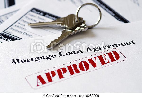 不動産, 抵当 貸付け金, 文書, 公認 - csp10252290