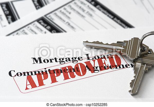 不動産, 抵当 貸付け金, 文書, 公認 - csp10252285
