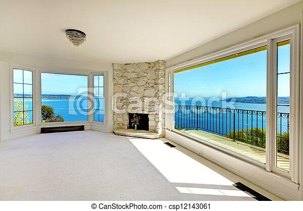 不動産, 水, 贅沢, 寝室, fireplace., 光景 - csp12143061