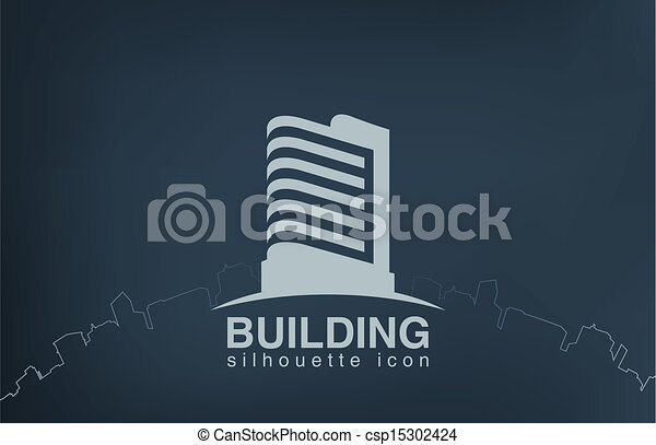 不動産, logotype., 現代, 超高層ビル, ロゴ, 建物。 - csp15302424