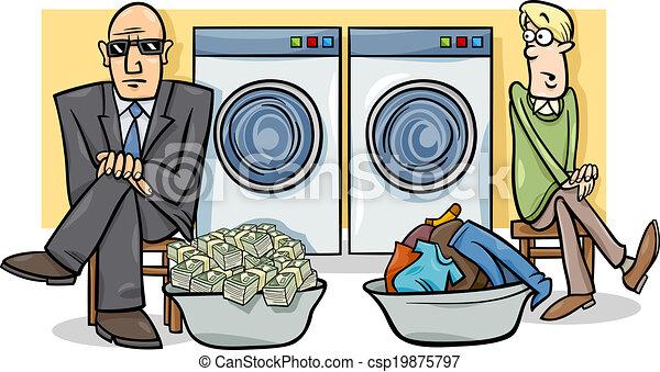 不正資金浄化, イラスト, 漫画 - csp19875797