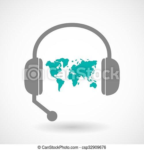 世界地図, 援助, アイコン, リモート, ヘッドホン - csp32909676