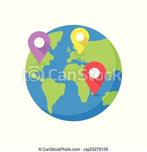 世界地圖, 目的地, pins. - csp53276105