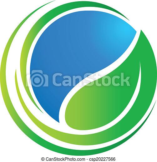 世界, エコロジー, 葉, のまわり, ロゴ - csp20227566